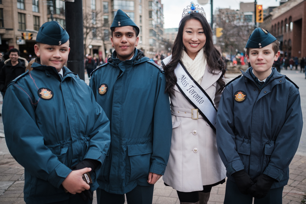Alice Li as Miss Toronto World 2017 with army cadets