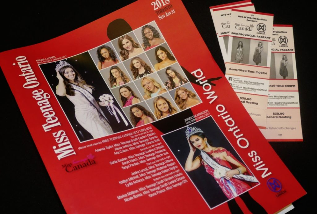printed program for 2018 Miss Ontario World at Hyatt Regency in Toronto - 21 Jan 2018