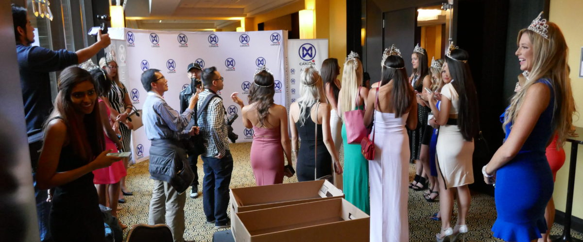 Photo wall at 2018 Miss World Canada