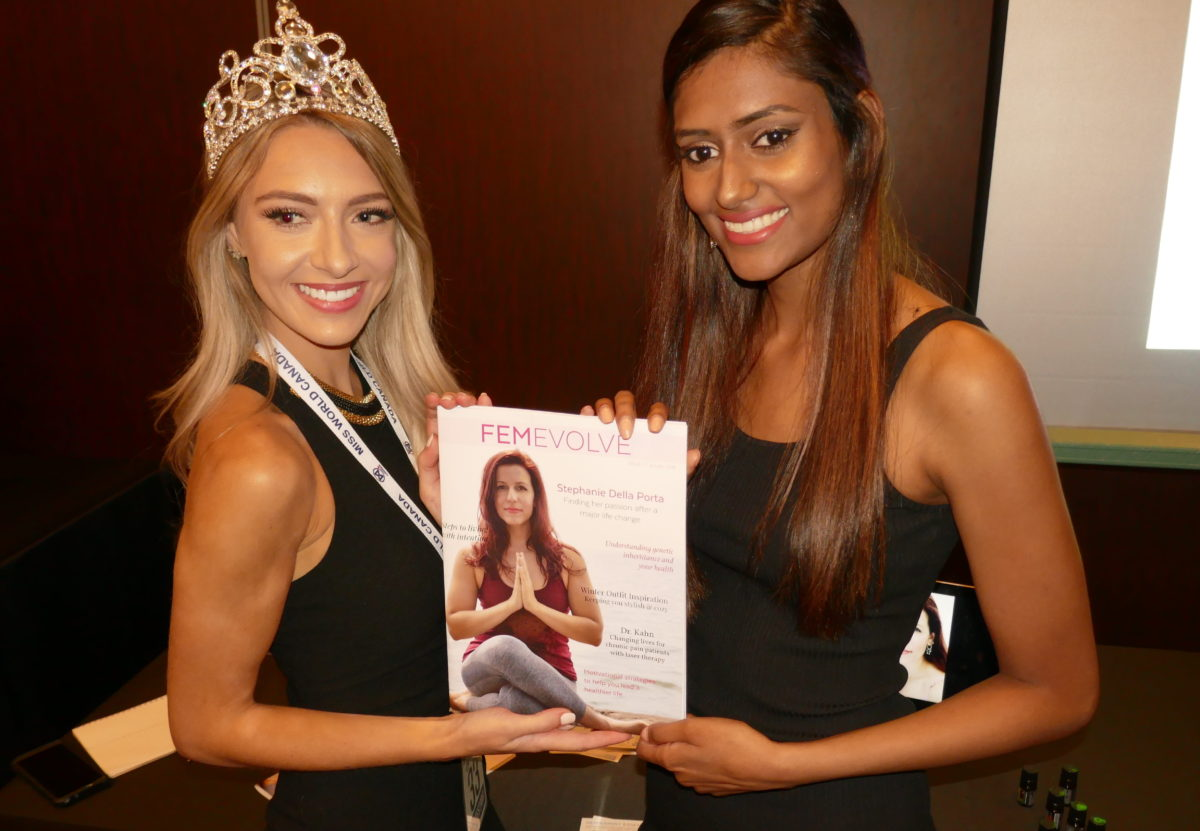 Christina Paruad of FemEvolve health magazine at Miss World Canada 2018