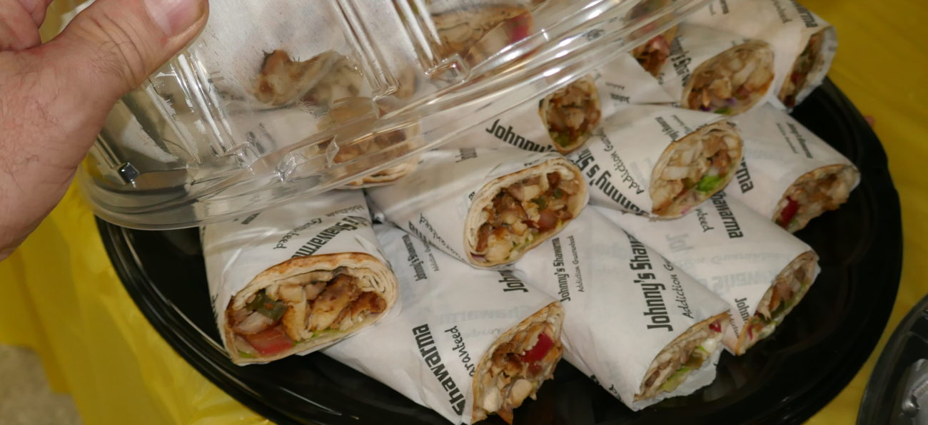 combine Chicken and Beef Falafel pita sandwiches by Johnny's Schwarma in Scarborough
